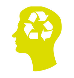 Head silhouette with recycling symbol in mind vector