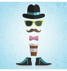 Hipster man with hat glasses bow coffee vector