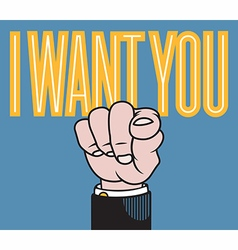 I want you pointing finger vector image
