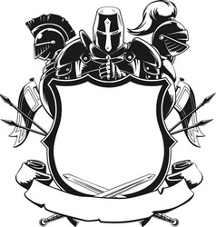 Knight Shield Silhouette Ornament vector image