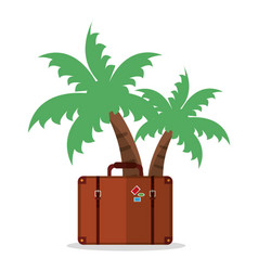 Palm tree with suitcase vacation vector
