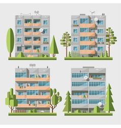 Panel houses flat set2 vector