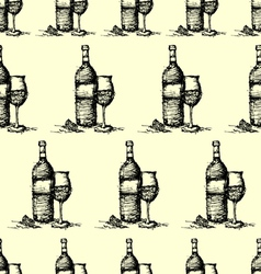 seamless wine pattern background vector image