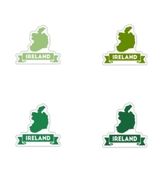 Set of paper stickers on white background Ireland vector image