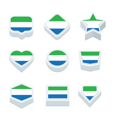 Sierra leone flags icons and button set nine vector