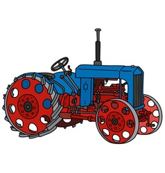 Vintage blue tractor vector