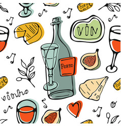 wine collection pattern hand drawn seamless vector image vector image
