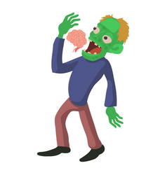 Zombie is eating brains icon cartoon style vector
