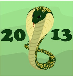 Background with green cobra vector