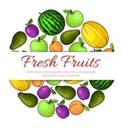Fresh fruits banner Fruit icons emblem vector image