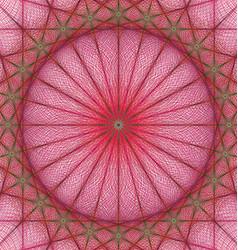 Red geometric kaleidoscope fractal background vector image