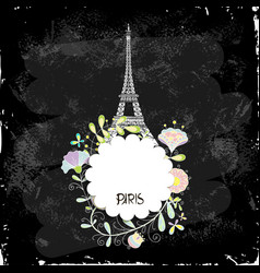 Eiffel tower on a black background board vector