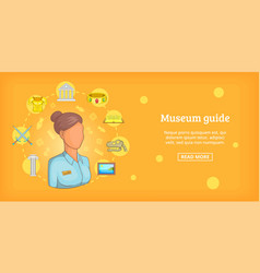 Museum banner horizontal guide cartoon style vector
