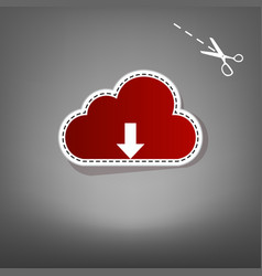 cloud technology sign  red icon with for vector image