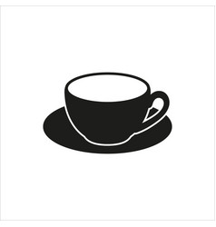 Cup and saucer - icon in simple monochrome vector