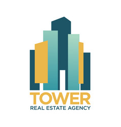 Tower real estate agency emblem with abstract vector