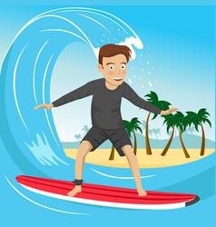 Male surfer riding large blue ocean wave vector
