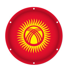 Round metallic flag of kyrgyzstan with screw holes vector