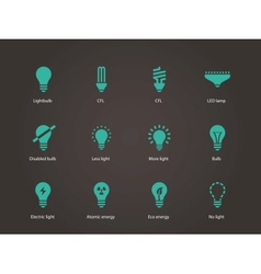 Light bulb and cfl lamp icons vector