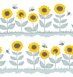 Sunflowers seamless vector