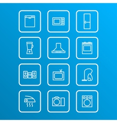 Household appliances icons 4 vector