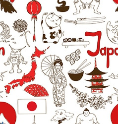 Sketch japan seamless pattern vector