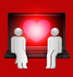 Loving couple of human shape sitting on laptop vector