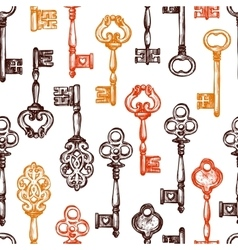 Vintage key seamless pattern vector