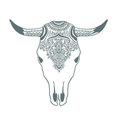 Hand drawn cow skull with ornament bohemian design vector