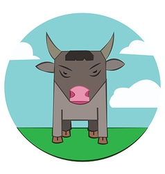 Bull on a meadow sky with clouds vector