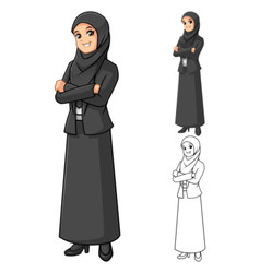 Muslim businesswoman wearing black veil or scarf vector