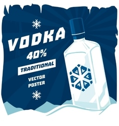 Cold or frozen glassware bottle of vodka vector