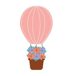 Air ballon basket flowers romance vector