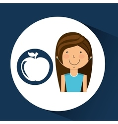 Athlete girl apple nutrition sport style vector