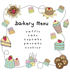 Bakery doodle menu bakery white vector