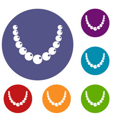 bead icons set vector image vector image