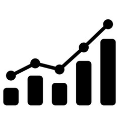 black bar chart icon on white background vector image vector image