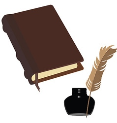 Brown book and inkwell vector