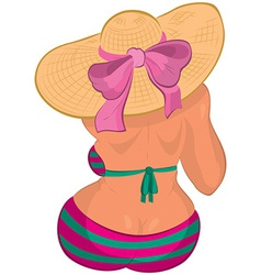 Cartoon overweight young woman in swimsuit and vector image vector image