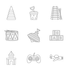 Children toys icon set outline style vector