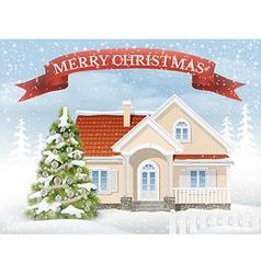 Christmas scene suburban house and fir tree vector image vector image