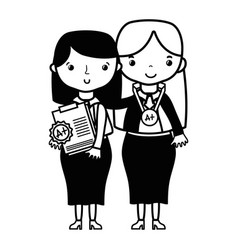 contour teacher with student to class education vector image vector image