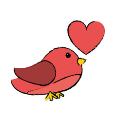 Drawing pink cute bird heart loveling vector
