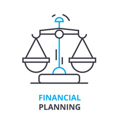 financial planning concept outline icon linear vector image vector image