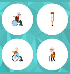flat icon disabled set of handicapped man vector image vector image