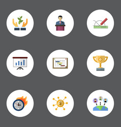 Flat icons schedule administration design and vector