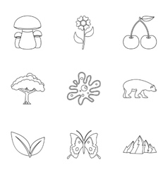 Flora icons set outline style vector
