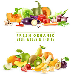 Fresh Vegetables And Fruits Design Concept vector image vector image