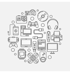 Gadgets and devices round vector image