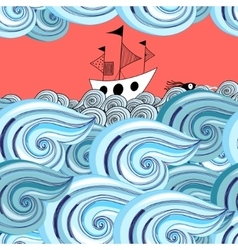 graphic pattern of waves and ship vector image